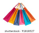 colorful shopping bags isolated ... | Shutterstock . vector #91818527