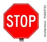 red stop sign isolated on a... | Shutterstock . vector #91833731
