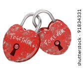two padlocks with together... | Shutterstock . vector #91834331