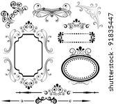 calligraphic border and frame... | Shutterstock .eps vector #91835447