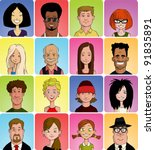 set of various cartoon faces ... | Shutterstock .eps vector #91835891
