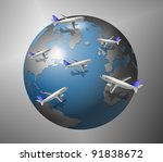 A group of airplanes flying all around the world / Airplanes and World - stock photo
