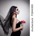 Dead Bride Woman In Skull Face...