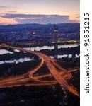 Vienna cityscape aerial view - stock photo