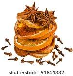 christmas sliced dried orange... | Shutterstock . vector #91851332