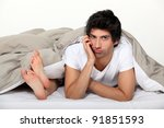 bored husband in bed | Shutterstock . vector #91851593