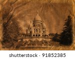 The famous basilica of Sacre-Coeur in Montmartre, Paris. /Artistic work of my own in retro style/ - stock photo
