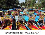 colourful mexican gondolas at... | Shutterstock . vector #91853714