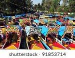 colorful mexican gondolas at... | Shutterstock . vector #91853714