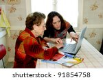 woman helping grandmother with... | Shutterstock . vector #91854758