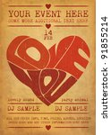 vintage valentines day party... | Shutterstock .eps vector #91855214