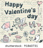 Doodle Valentine's day scrapbook love postcard with hand drawn sketches