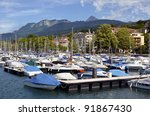 port of evian les bains on the... | Shutterstock . vector #91867430