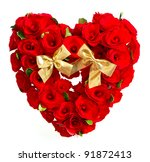 heart of red roses with golden... | Shutterstock . vector #91872413