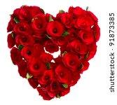 heart of red roses on white... | Shutterstock . vector #91873385