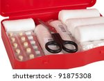 red first aid kit isolated on... | Shutterstock . vector #91875308