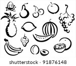 fruits symbols collection ... | Shutterstock .eps vector #91876148