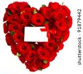 red heart of roses with white... | Shutterstock . vector #91879442
