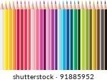 vector set of colored pencils   Shutterstock .eps vector #91885952