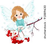 Winter Baby Fairy Sitting On...