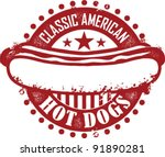 classic american hot dog stamp | Shutterstock .eps vector #91890281