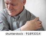 senior gentleman grimaces at... | Shutterstock . vector #91893314