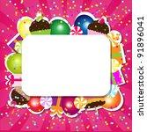 birthday color card  vector... | Shutterstock .eps vector #91896041