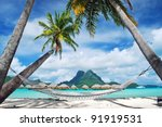 view of the otemanu mountain  ... | Shutterstock . vector #91919531