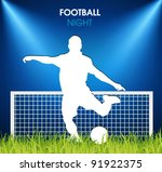 soccer player on the grass in... | Shutterstock .eps vector #91922375