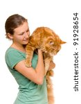 pretty young woman with her cat ... | Shutterstock . vector #91928654