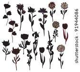 flowers silhouette set in black | Shutterstock .eps vector #91944086