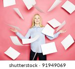 businesswoman with flying... | Shutterstock . vector #91949069