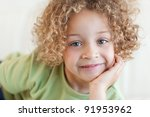 close up of a cute boy lying on ... | Shutterstock . vector #91953962