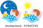 boy sleeping and waking up   Shutterstock .eps vector #91965743