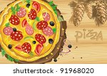 delicious supreme pizza with... | Shutterstock .eps vector #91968020