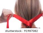 young woman braids her hair... | Shutterstock . vector #91987082
