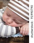 beautiful baby boy sleeping in... | Shutterstock . vector #91990790