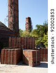 Brick factory with kiln and smoke stacks in Martinsburg, WV - stock photo