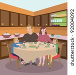 family dining in the kitchen | Shutterstock . vector #92004092