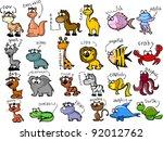 big set of cartoon animals | Shutterstock .eps vector #92012762