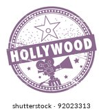 Grunge rubber stamp with the name of Hollywood written inside the stamp, vector illustration - stock vector
