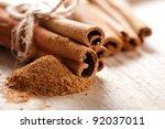 Cinnamon Sticks And Meal Close...