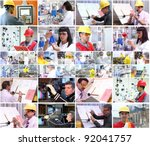 collage of images with people... | Shutterstock . vector #92041757