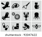 vector black allergies icons... | Shutterstock .eps vector #92047622