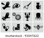 vector black allergies icons...   Shutterstock .eps vector #92047622