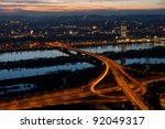 Cityscape of Vienna at night - stock photo
