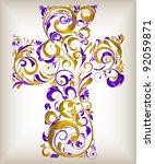 vector floral cross | Shutterstock .eps vector #92059871