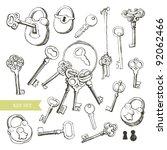 key set  variety of hand drawn... | Shutterstock .eps vector #92062466