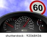 a dashboard indicating a car... | Shutterstock . vector #92068436