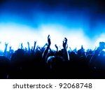 cheering crowd at concert | Shutterstock . vector #92068748